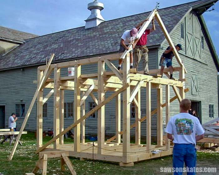 Building a timber frame shed at a woodworking classes.