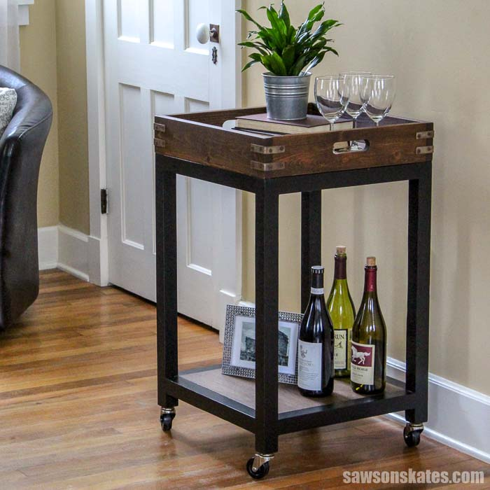 A DIY bar displaying wine bottles and wine glasses