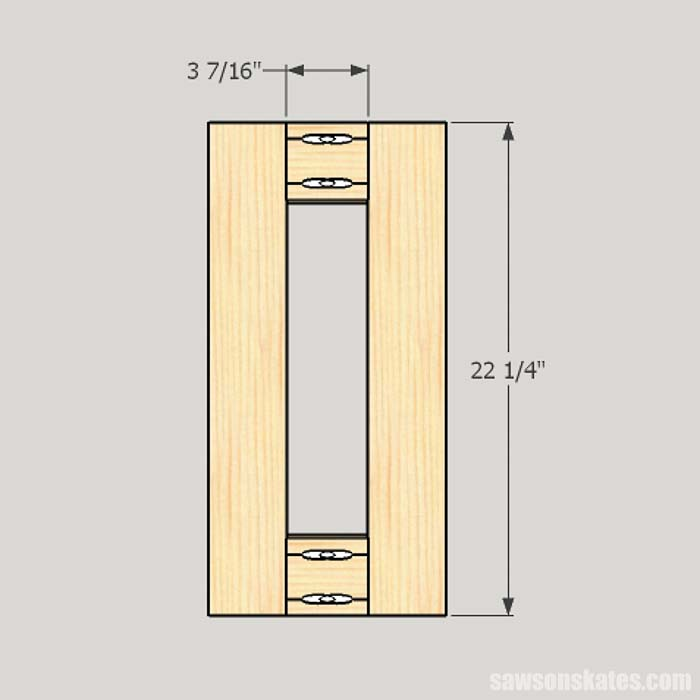 Sketch showing the dimensions for workshop cabinet divider