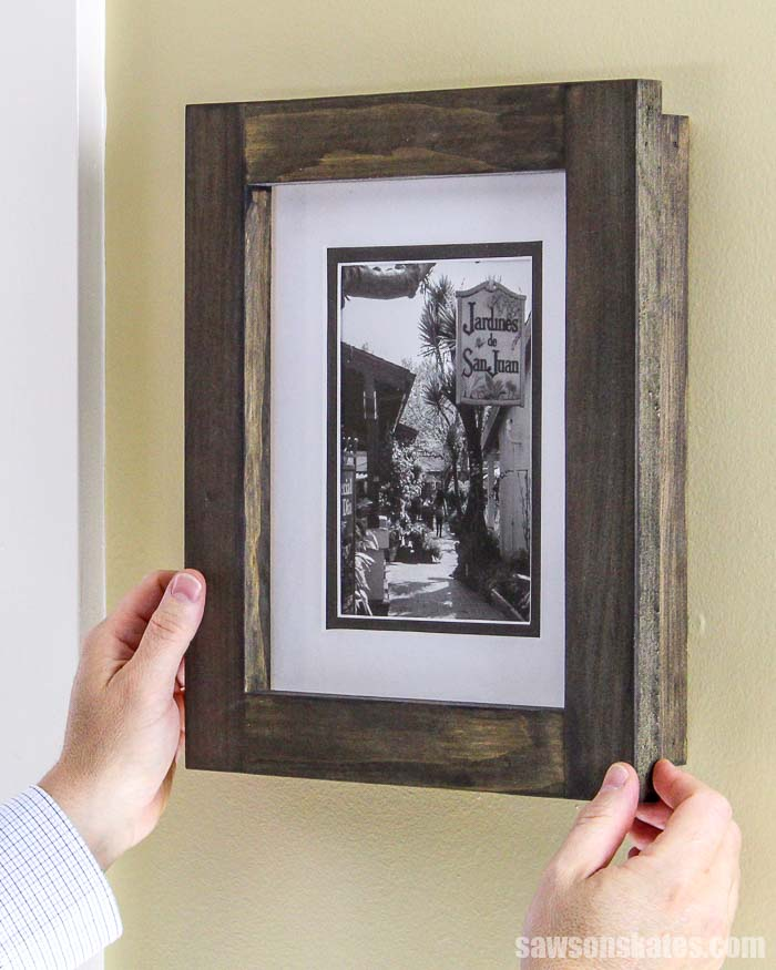 No complicated cuts here! These attractive DIY picture frames are easy for anyone to make with inexpensive wood, some basic tools, and only 8 straight cuts.