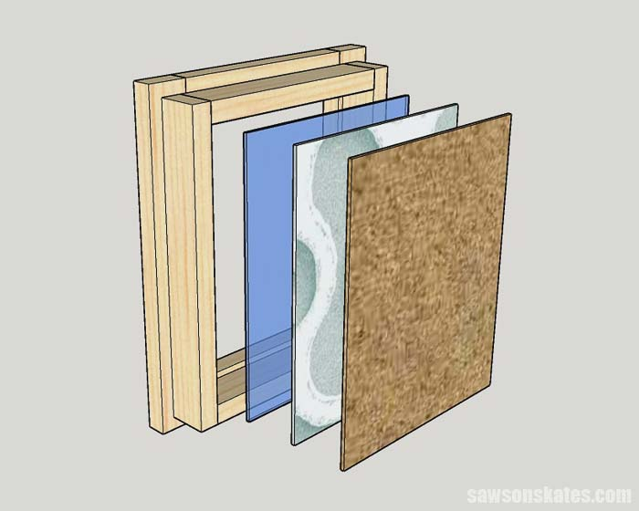 Sketch showing how to install the glass, artwork and cardboard in DIY picture frames