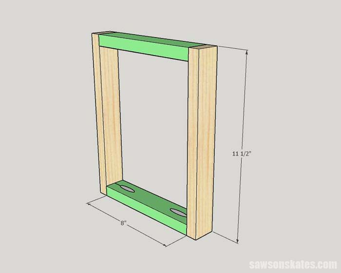 Sketch showing how to assemble the back of a DIY picture frame