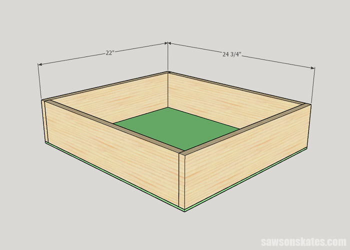 Attaching the bottom of cabinet drawer
