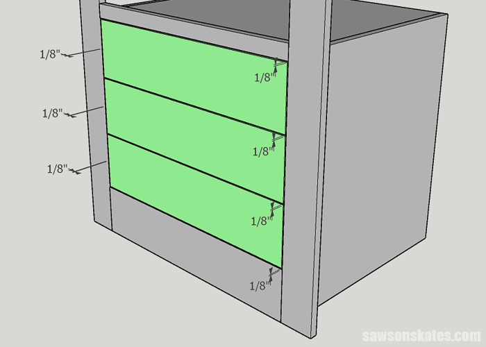 DIY Drawes need clearance around the drawer front