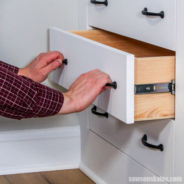 DIY drawers in a cabinet