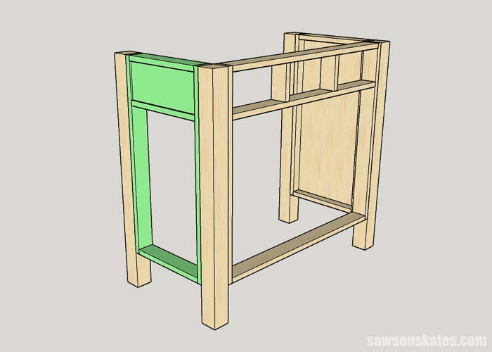 Attaching the left side of the cat litter box cabinet