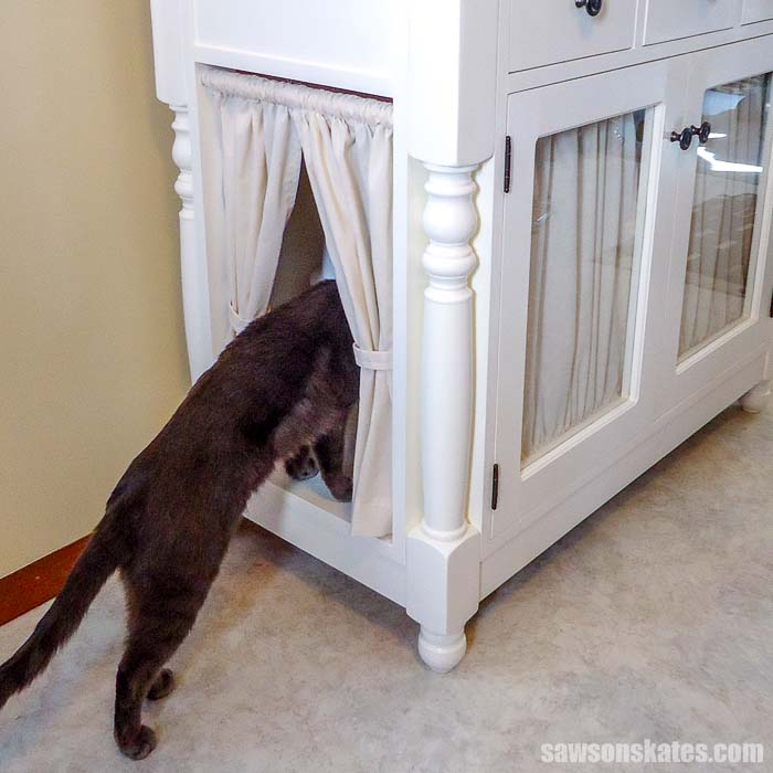 Hide that ugly cat litter box with this DIY kitty litter cabinet! These free plans show how to make a stylish wooden enclosure that's perfect for any room.