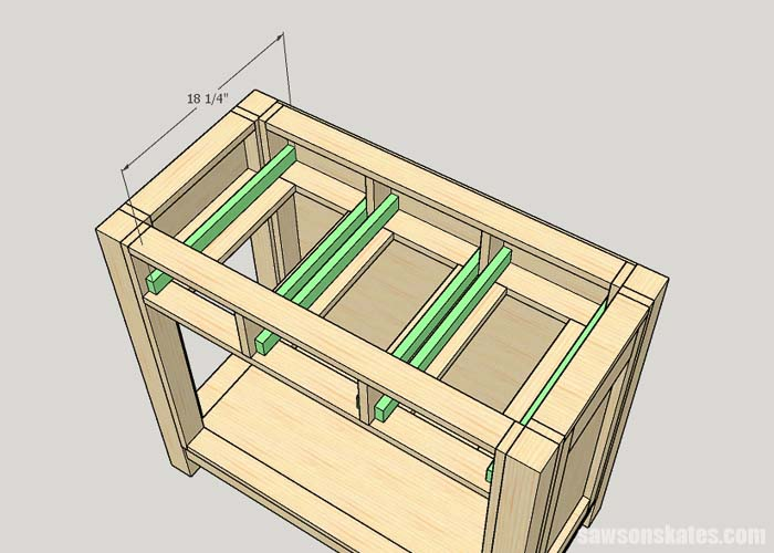 Attaching the drawer guides for the kitty litter cabinet