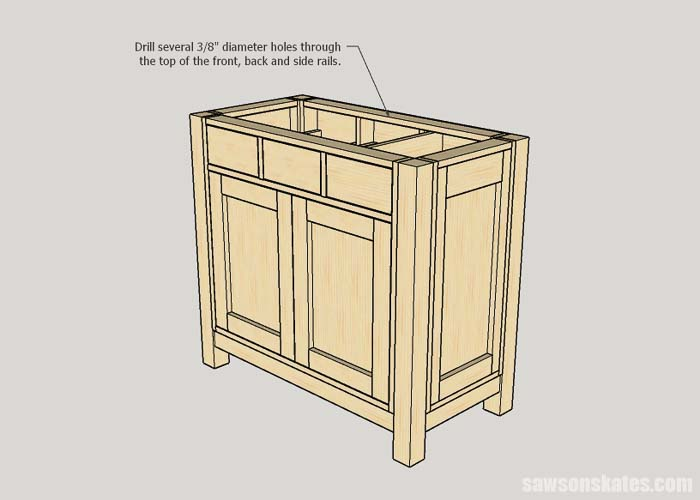 Screw hole locations for the top of the DIY cat litter box furniture