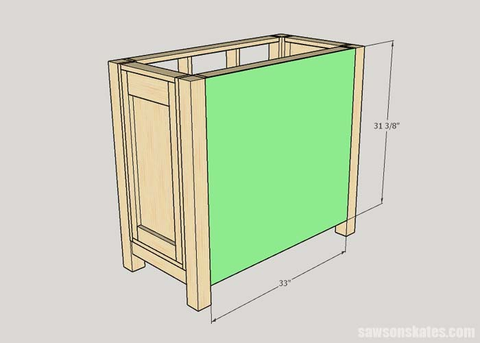 Installing the back panel on the litter box cabinet