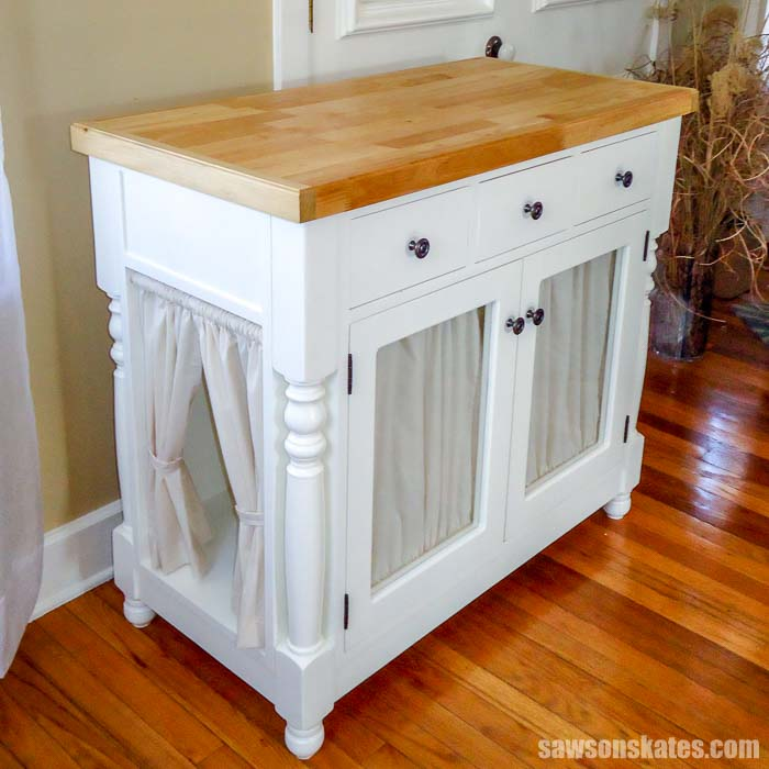 Make a cat litter box cabinet with these free plans