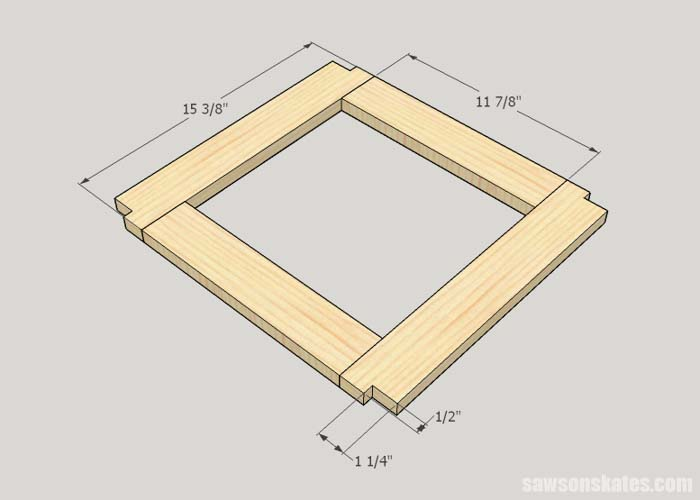 Sketch showing how to make the top frame for the DIY outdoor side table