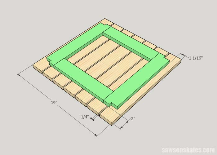 Sketch showing how to attach the top frame to the top slats for the DIY outdoor side table