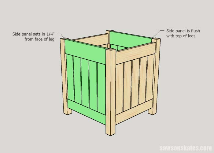 Sketch showing how to attach the front and back panels to the side panels of the DIY outdoor side table