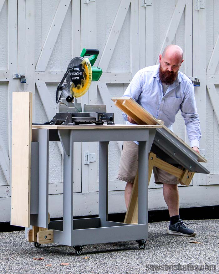 Build a portable DIY miter saw station! The stand folds to save space and has wheels to make it mobile. Perfect for a small workshop, garage or shed.
