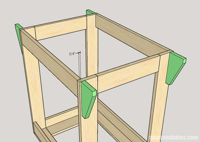 Installing the top supports on a portable miter saw station