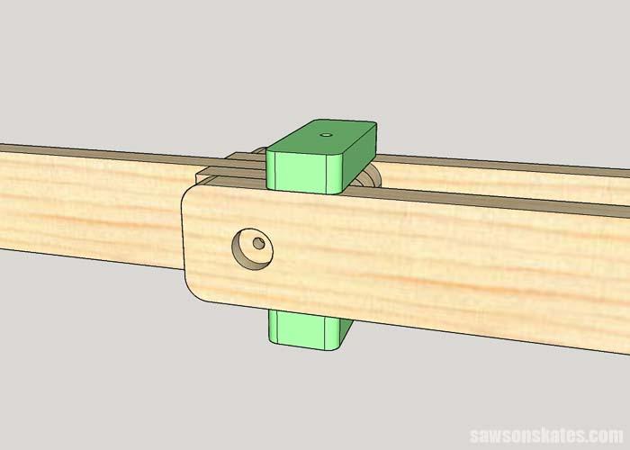 Installing the arm locks on a DIY folding miter saw station