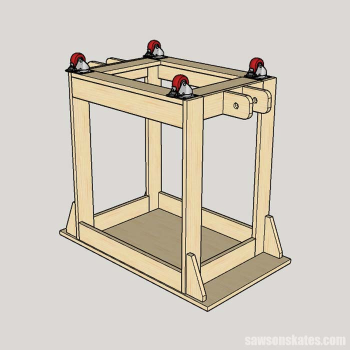 Attaching casters to foldable DIY miter saw station