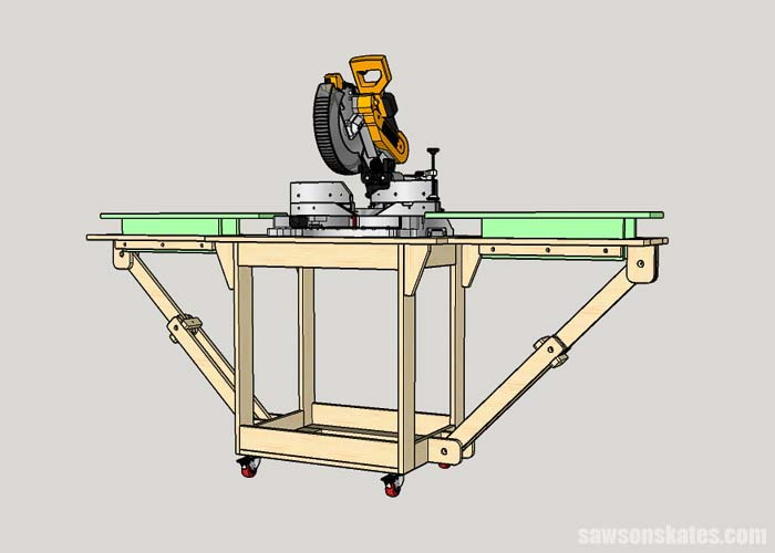 Installing the wing tables in a folding DIY miter saw station