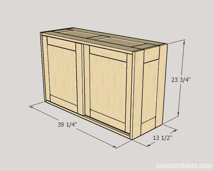 Sketch showing the outside dimensions of the DIY tool storage cabinets
