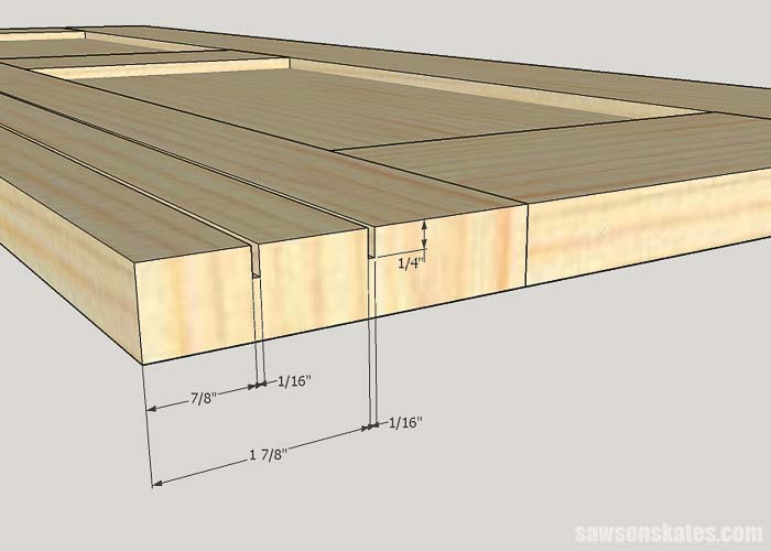 Sketch showing the groove detail for making DIY tool storage cabinets with sliding door hardware