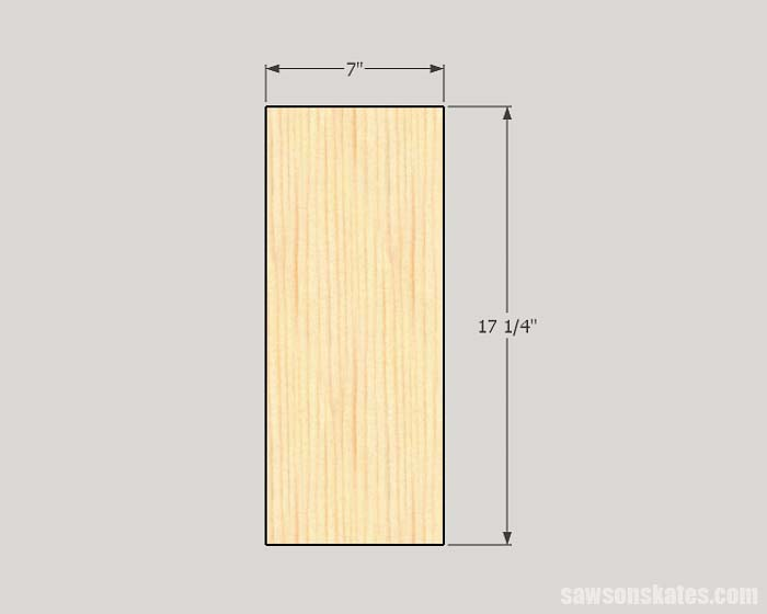 Sketch showing the side panel dimensions of needed to make DIY storage cabinets