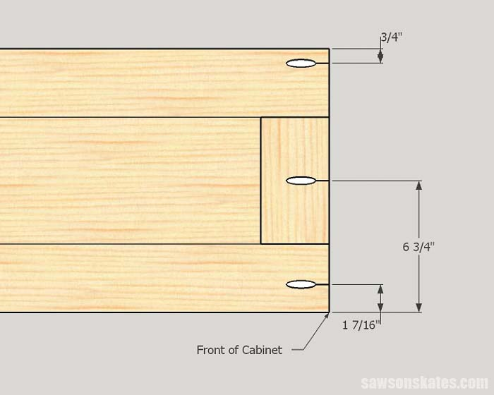 Sketch showing the pocket hole locations for the top and bottom assembly for DIY storage cabinets