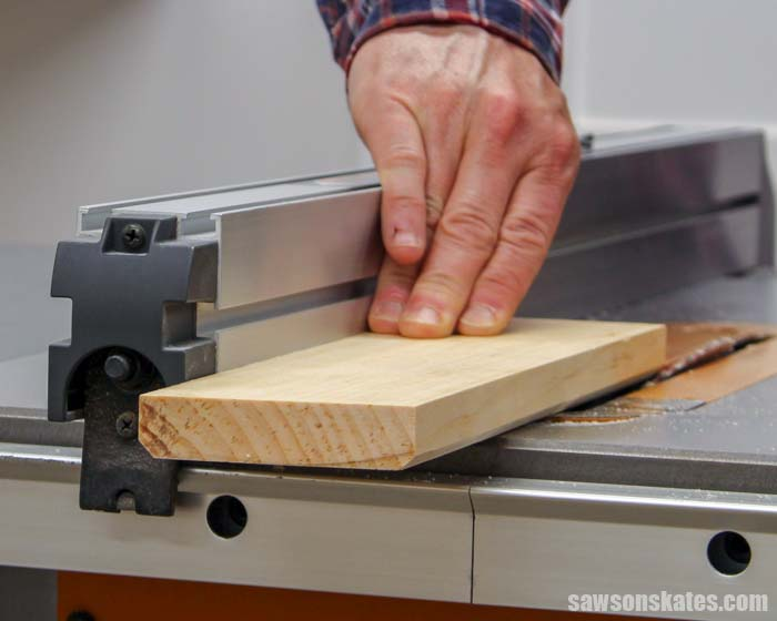 Making crown molding on the table saw by cutting two narrow 45-degree bevels