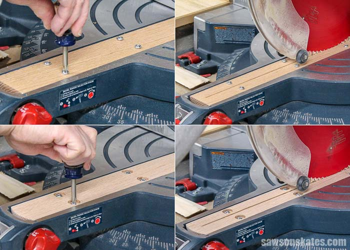 A zero clearance insert is installed in a miter saw to prevent tear-out