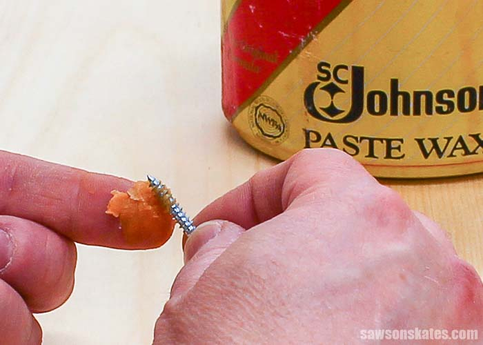 Applying SC Johnson Paste Wax to a fine-thread pocket screw
