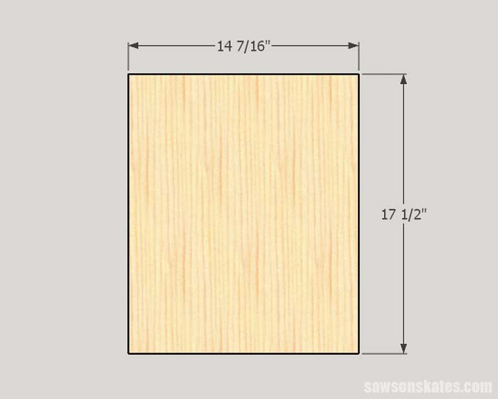 Sketch showing the dimensions of door panel for making cabinet doors