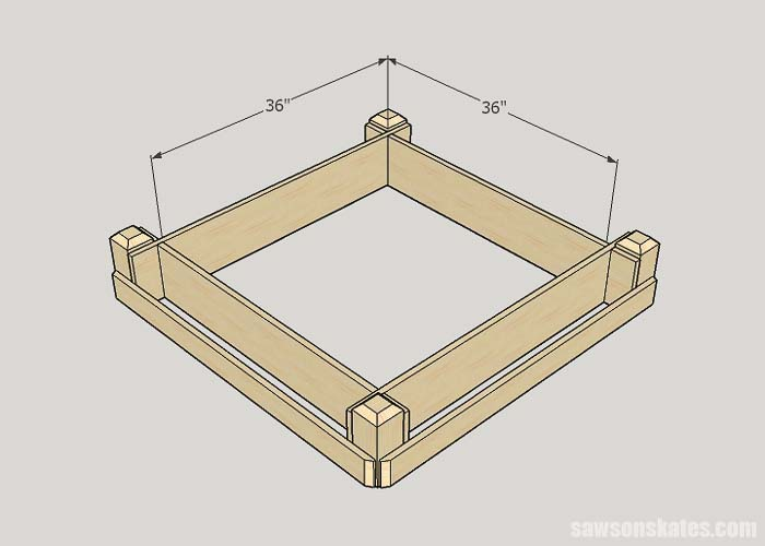 Sketch showing interior dimensions of the DIY tiered raised garden bed