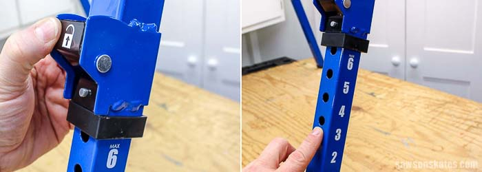 The Kreg Track Horse sawhorse is height adjustable