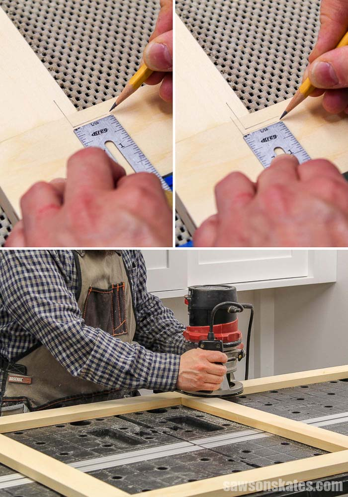 Cutting the groove for spline in a wood window screen frame
