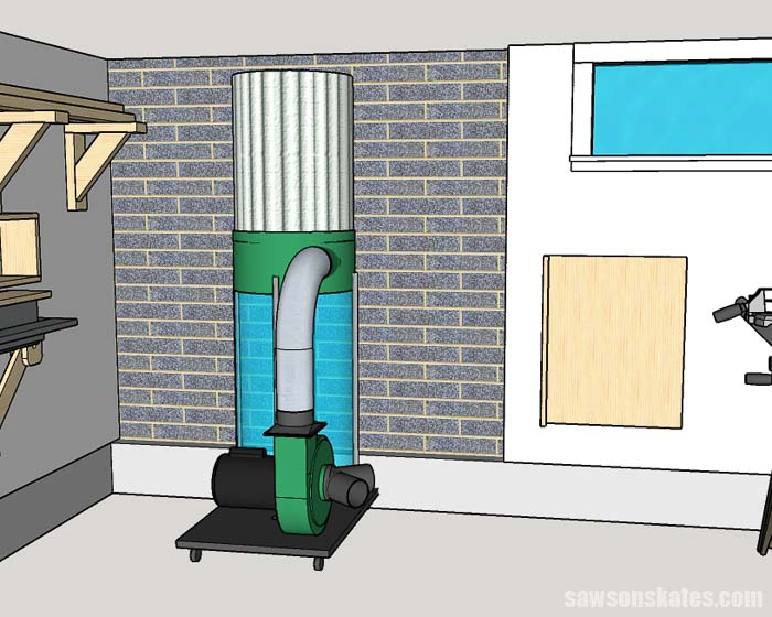 Dust collector in a small woodshop layout