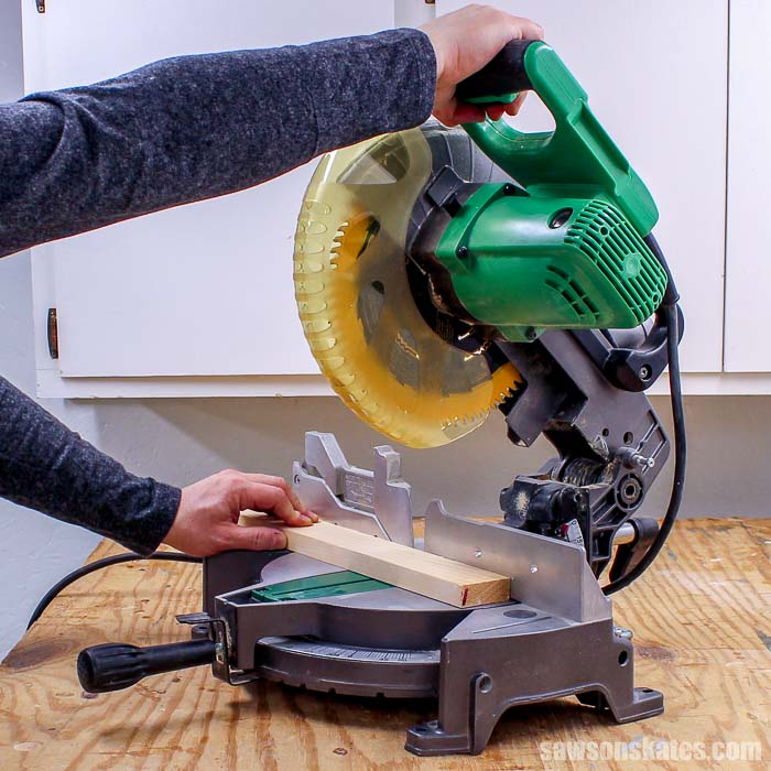 A miter saw is an essential tool for beginners.