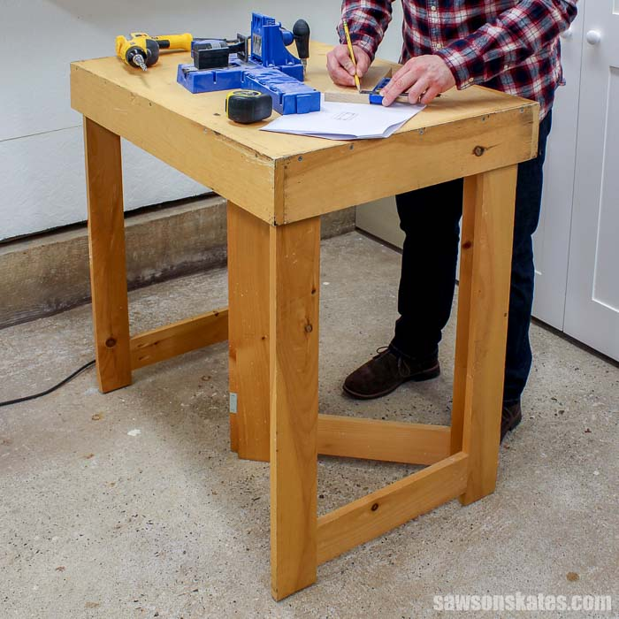 Build a folding workbench with these free plans! This sturdy, foldable workbench is easy to make with simple tools. Perfect for a workshop, garage or shed.
