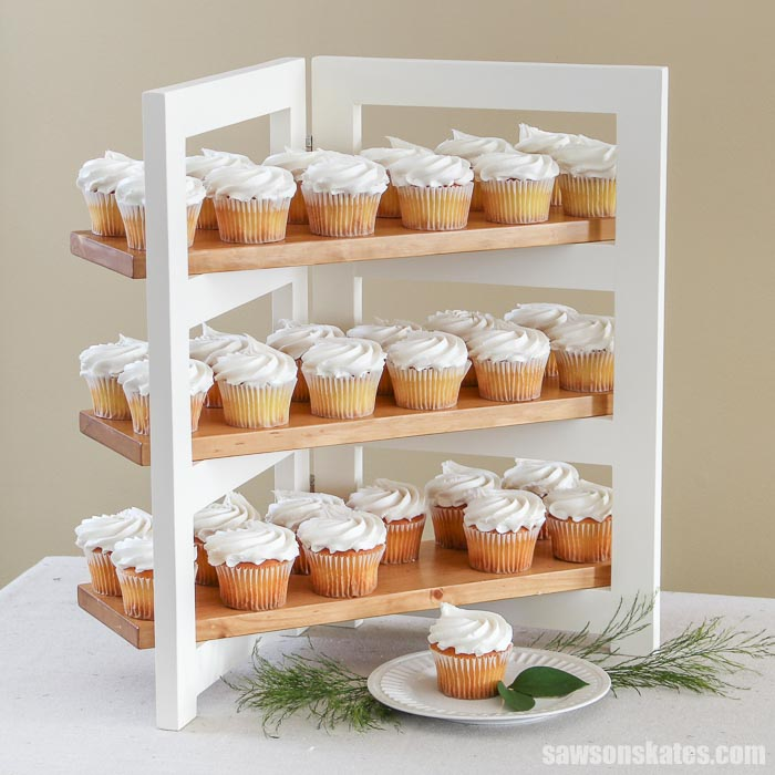 A folding DIY cupcake stand with 36 cupcakes