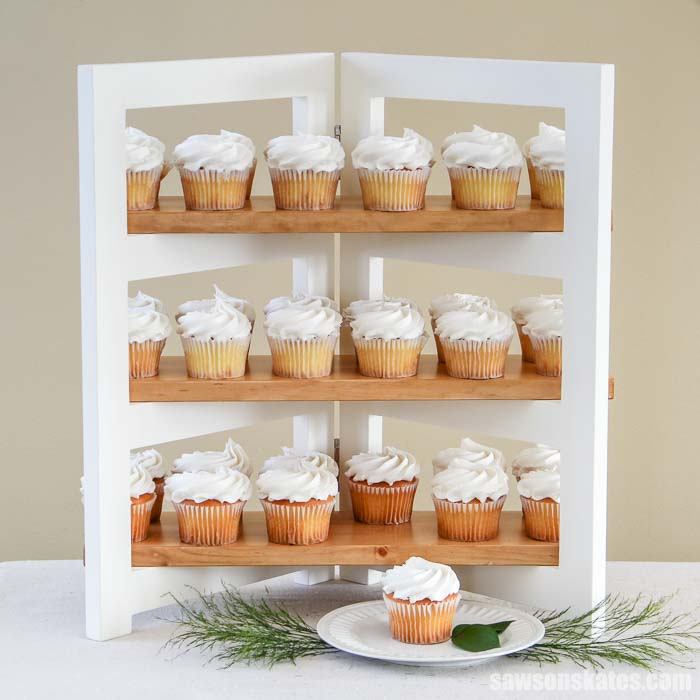 3-tier DIY cupcake stand displaying 36 cupcakes