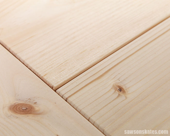 Close up of a DIY farmhouse table top
