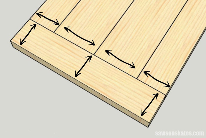 Sketch showing how wood moves when building a DIY farmhouse table top