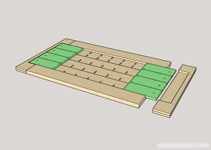 Sketch showing a solution to attach breadboard ends to a DIY table top that allows for wood movement