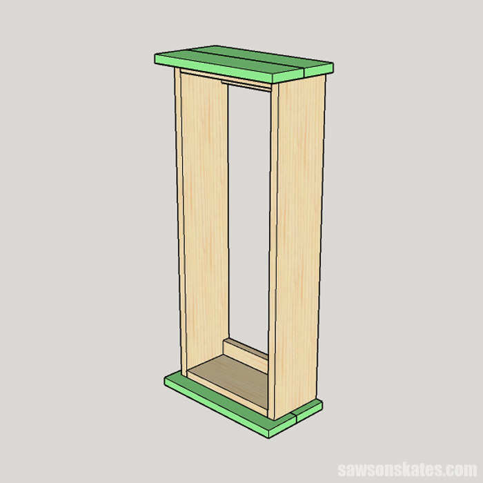 Sketch showing how to attach the top and bottom on a wall-mounted DIY spice rack