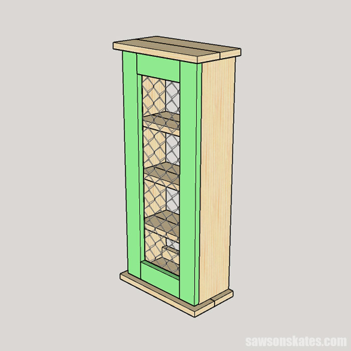 Sketch showing how to attach a door to a rustic DIY spice rack