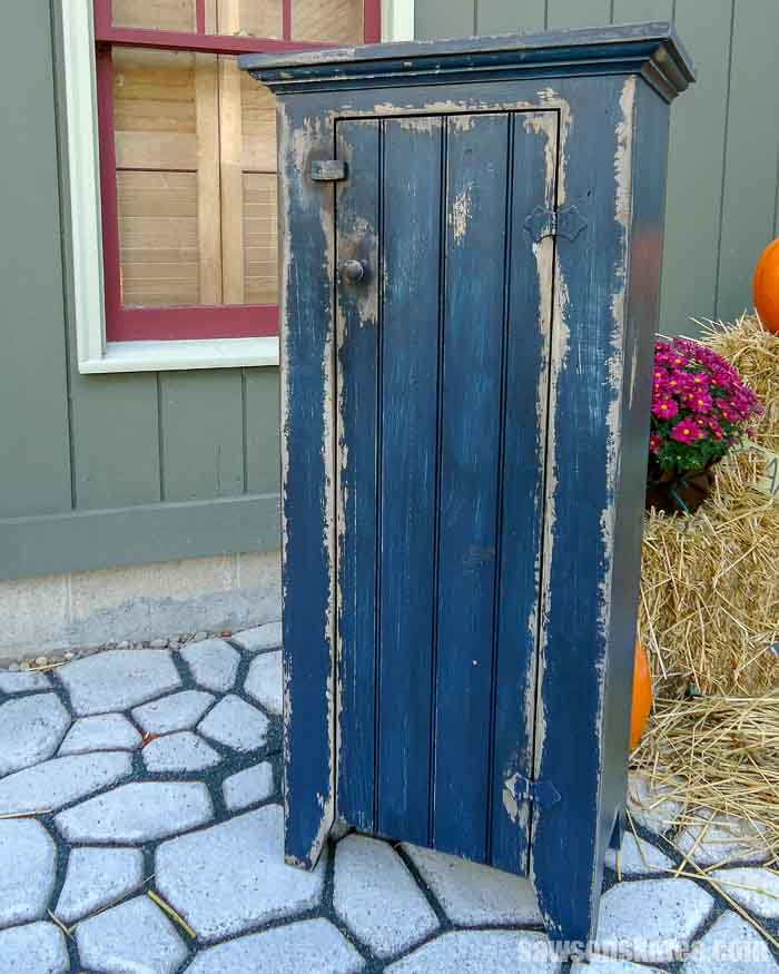 DIY jelly cabinet with a rustic paint finish