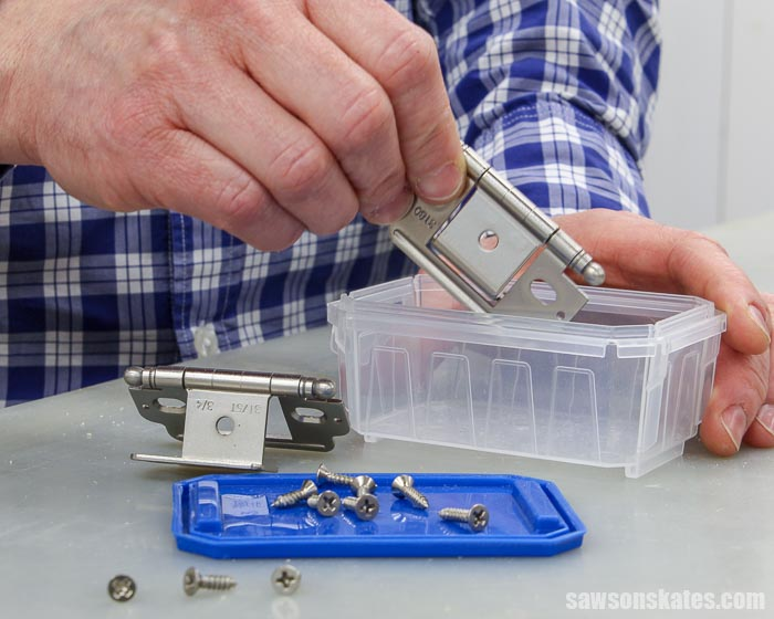 Pocket screw containers are a great place to store hardware, like hinges and knobs for woodworking projects