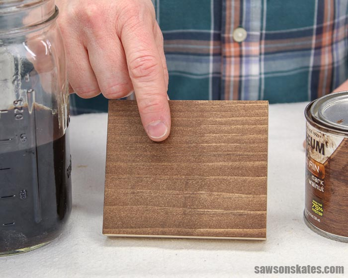 Showing how to use a DIY black walnut stain as a wood conditioner