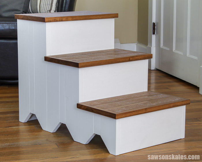 Homemade DIY dog stairs for a couch or bed