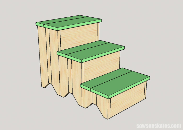 Attaching treads to DIY dog stairs