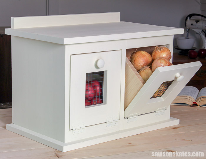 Countertop DIY vegetable storage bin for organizing root vegetables